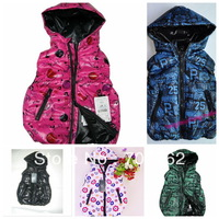 retail kids winter hoody coat letter printing hot pink hoodies babys vest boys girls waist coat top clothes