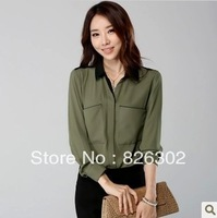 Free shipping 2013 New Fashion autumn long-sleeve  shirt Army Green handsome women's slim clothing basic chiffon shirt