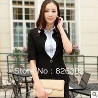 Free shipping 2013 autumn women  half sleeve collarless blazer female slim outerwear women's thin suit