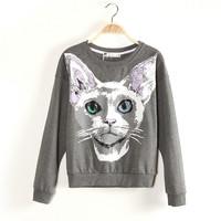 The new female 2013 autumn knitting a pullover han edition kitten pattern sets round collar fleece single lady