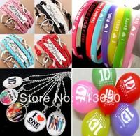 New! 27pcs/lot One direction Jewelry Set 4 leather bracelets + 8 silicone bracelets +5pendant necklace+10balloons Wholesale Lots
