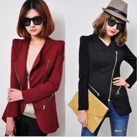 Free shipping !2013 autumn fashion personality women's turn-down collar oblique zipper slim suit blazer outerwear repair