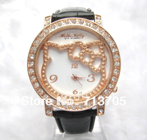 Wholesales Min order(10pcs)Fashion children's gifts watch women's watch big kitty face with leather band(China (Mainland))