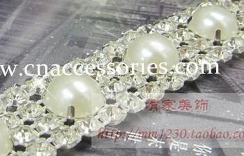 free shipment,rhinestone pearl mesh trimming with faux pearl beads,5yards/lot,4 rows rhinestones,#125066