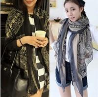 Free shipping autumn -summer women scarf totem design restoring ancient ways long silk scarves Fashion shawls wholesale F004