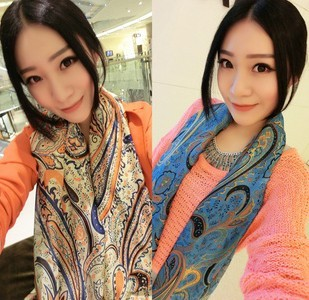 Free shipping New 2013 autumn -summer chiffon peacock flower scarves silk printed scarf women wholesale F008(China (Mainland))