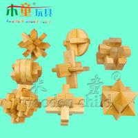 Wooden toys adult puzzle luban ball plum blossom lock intelligent lock piece set