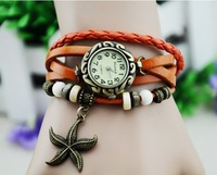 Sell like hot cakes! Personality, starfish pendant watch hand-woven antique watch