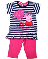 Free shipping 5sets / lot 1~5y girl summer suit printed peppa pig short sleeve striped t shirt + rose pant