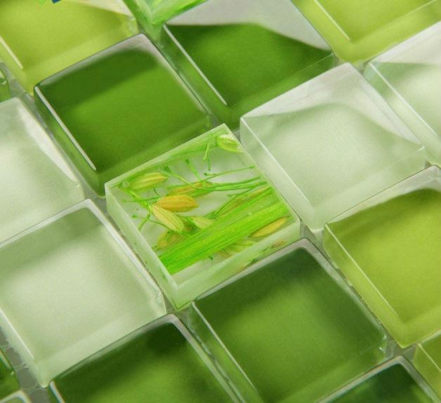 Groene Keuken Tegels : Green Glass Mosaic Tile Backsplash