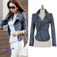 Free Shipping Style Lady Punk Lapel Zipper Denim Jean Coat Blazer Jacket Crop Biker Zip Up SML