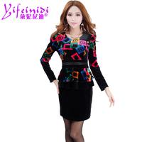 New 2014 Free Shipping  High Quality Vestido De Festa Sale Natural Dresses Autumn And Winter Velvet Formal Ol Long-sleeve  Dress