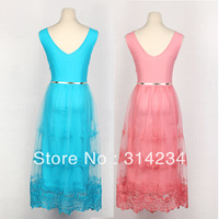 Promotion!100% High quality women's party dress lace O-neck sleeveness with belt S,M,L,XL summer female clothing tank dresses