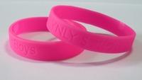 Hot Pink 100pcs Lot debossed Silicone Wristbands, Wholesale Custom Rubber Bracelets