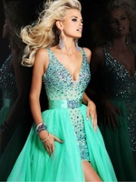 Sexy Expensive  High Quality V-neck Crystal  Sheath Short Evening  Dress Prom Homecoming  Dresses