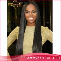 12-26 inch 1B#  130% density top quality Brazilian virgin hair long straight  U- shaped wig,cheap u part wig
