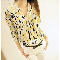 2013 summer fashion chiffon shirt stand collar color block geometric patterns graphic blouse female long-sleeve women's SHC038