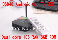 Free shipping CS848 Dual core Cortex A9 RK3066 1.6ZGhz Android 4.1 1GB RAM+8GB ROM WiFi Bluetooth HDMI MINI PC TV BOX