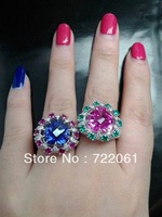 Spot 925 silver inlaid gems Tanzania blue emerald love Beijing female flower ring Punk eagle claw ring