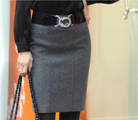 2013 New Style Solid High Waist Knee-Length Short Skirt Women's  Fashion Big Size Winter Straight Skirts
