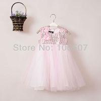 1 pcs pink girl's summer wedding pom dress kids' children party princess dresses girls'  tutu dress elegant hot selling