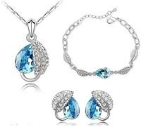 Fashion Jewelry Set,White Gold Plated Blue Cut Leaf Austria Crystal Jewelry Set,3 pieces/set,Wedding Jewelry Z500T4172