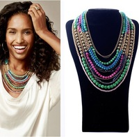 043 necklaces 2013 fashion women alloy colorful natural stone necklace make up jewelery