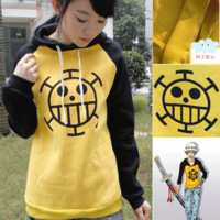Hot New Free Shipping  High Quality Trafalgar Law  Winter Thicken Warm  Hoodie Sweater Sweatshirt Coat One Piece Anime Cosplay