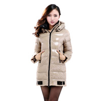 Hot sale 2014 winter thick extra large fur collar down coat white duck feather women's medium-long down jacket outerwear