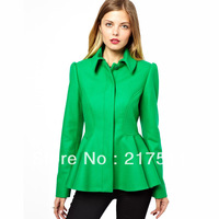 Free Shipping 2013 New Autumn Winter Fashion Wool Blends Coat Women Brand Ruched Lap Emerald Green Slim Blazer Outwears 08160005