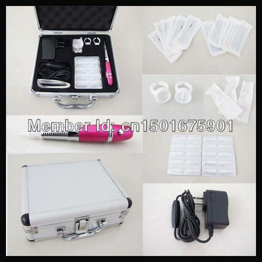 Promotional eyebrow lip pen permanent makeup machine kits with 20pcs needles(China (Mainland))