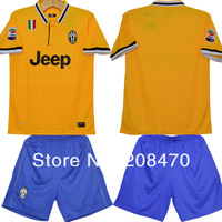 2013 2014 New juventus away yellow t shirts soccer uniforms for men Desinger sports jersey men's thai quality kit Free Shipping