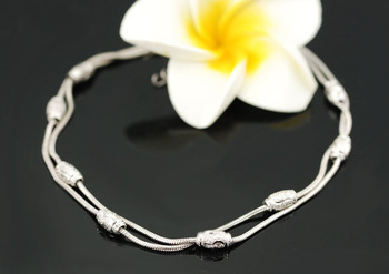 Fashion Snow Silver Platinum-plating Carved Olive Girl Anklets