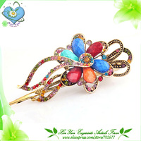 New ! Hot sale Europen Palace Retro Style Rhinestone,Resin and 18KGP Alloy Flower Lady's Hairgrips