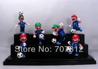 Box Packed Super Mario Bros Action Figures Argentina Football Team  Collection Toys PVC 6PCS/Set High Quality Free Shipping