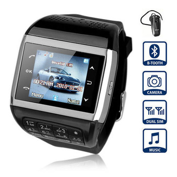 Q8 Watch Phone  Wrist Mobile Phone With 1.5 inch Touch Screen Dual SIM Bluetooth Camera Compass Keyboard Silver