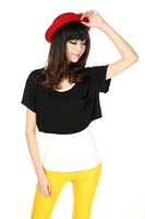 2013 fashion  paragraph strapless blouse bat shirt pocket loose short-sleeved T-shirt