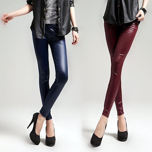 free shipping Fashion spring and autumn fashion personality matt faux leather pants legging(China (Mainland))
