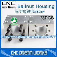 3pcs Aluminum Railing Parts Ballscrew Ballnut Housing Bracket Holder For SFU1204 Ballscrew CN344