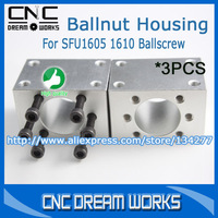 New Arrival&PROMOTION! 3PCS Ballscrew Nut Housing Bracket Holder for 1605 1610 Ballscrew for DIY CNC CN347