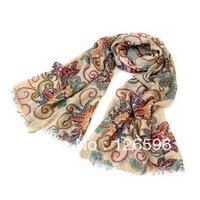 Free Shipping Women's Cotton Blends Totem Retro Bohemia Scarf Shawl Noble Scarf Shawl Free Shipping