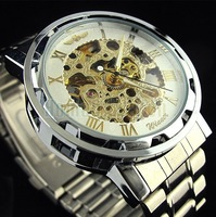 Free Shipping 2013 Fashion Golden Hollow Dial Stainless Steel Band Automatic Mechanical Wrist Watch for Men Relogio Luxury
