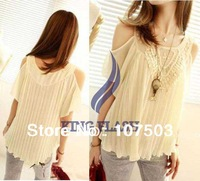 Wholesale 2013 Summer New Korea Fashion Blouses Tops Retro Lace Crochet Off Shoulder Pleated Chiffon Shirts Women 3 colors 16575