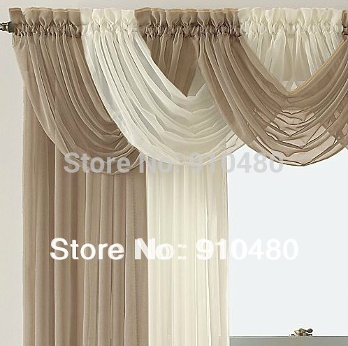 Diy burlap kitchen curtains - Beautiful Sheer Curtain Valance Waterfall Swag Valance