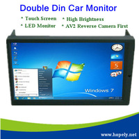 "Free Shipping High Brightness 6.95"" Double DIN VGA Touch Screen LED Car Monitor with AV2 Reverse Camera First"