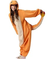 Anime Pokemon Charmander Cosplay Costume Polar Fleece Pajamas Party Dress