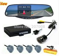 "Car Auto Rear view Mirror Reversing Sensor System 4 Sensors & Backup Camera, with Built-in 3.5"" TFT LCD Monitor Display"
