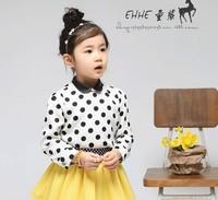 New cute Kids baby girl princess doll collar lapel large dot cotton girls long-sleeved shirt / children clothing & blouses