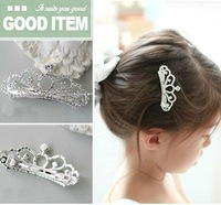 Children Girls Crown Headdress Kids Tiara Hairpin Rhinestone Princess Tiara Hair Clip Blingbling Hair Jewelry