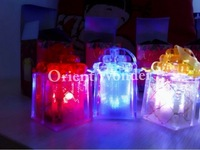 Free shipping Popular Christmas Package crystal box 7 color changeable flash led light gift Christmas Tree Holiday   with ribbon